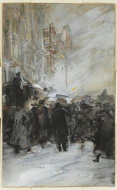 """Matinée Crowd, Manhattan"", (pastel and gouache on illustration board, c.1904). American artist: Everett Shinn, (1876-1953). ~ {cwlyons}"