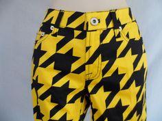 Loud Mouth Golf Womens Long Pants BIG BUZZ Yellow/Black Size 4 NWOT #LoudmouthGolf