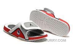 02e9b8784aa 2017 Mens Jordan Hydro 13 Slide Sandals White/Black/True Red/Cement Grey  Lastest FfWCY5z