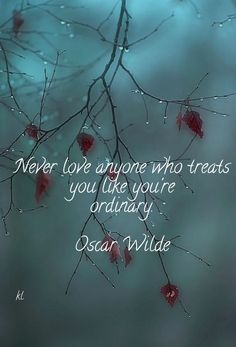 Check out my new PixTeller design! :: Never love anyone who treats you like you're ordinary. oscar...