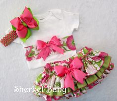 Sassy Pants Ruffle Diaper Cover Panty and Ribbon Bow Bodysuit Pink and Green Optional Hairbow. $48.00, via Etsy.