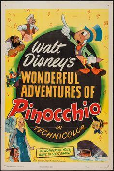 "Movie Posters:Animation, Pinocchio (RKO, R-1945). One Sheet (27"" X 41""). Animation.. ... Image #1"