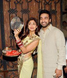 Shilpa Shetty poses with husband Raj Kundra. The couple celebrated Karva Chauth at Anil Kapoor's residence.