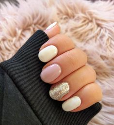 White, pink and glitter gel polish on natural nails