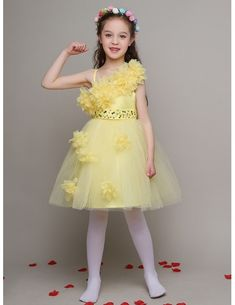 da15bbb4250 Pretty Yellow Tulle Beaded Short Pageant Dress with Handmade Flowers Cute  Dresses For Teens
