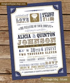 BBQ wedding invitation (could also be for rehearsal dinner)