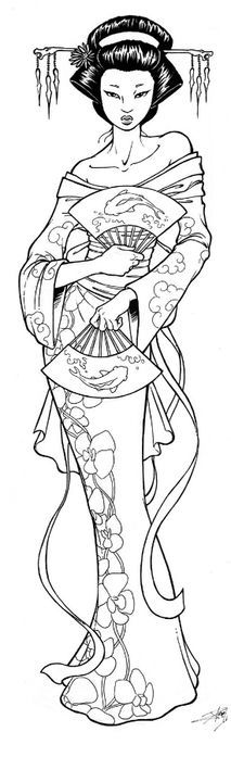 Geisha Coloring Pages Free - Coloring For Kids 2019 Illustration, Japanese Embroidery, Coloring Book Pages, Children Coloring Pages, Kids Coloring, Digi Stamps, Printable Coloring, Colorful Pictures, Asian Art