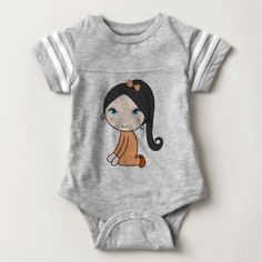 Pigtail hair girl cartoon baby bodysuit - toddler youngster infant child kid gift idea design diy