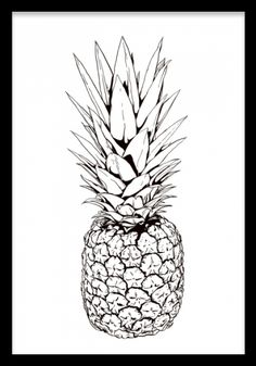 Items with illustration of pineapple .- Poster med illustration av ananas… Items with illustration of pineapple … - Pineapple Drawing, Pineapple Art, Pineapple Images, Poster 40x50, Pineapple Clipart, Pineapple Illustration, Fruit Illustration, Kitchen Posters, Honeymoon Hotels