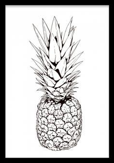 Pineapple print. Tavla med trendig ananas - svartvit illustration. Poster med svartvit ananas, illustration på vit bakgrund.