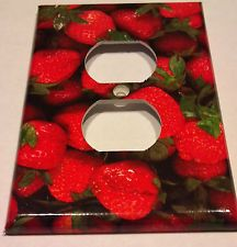 Red Delicious Strawberries Outlet Plate Cover Kitchen Room Decor