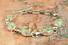 Turquoise Jewelry  Genuine Number 8 Mine Turquoise set in Sterling Silver Bracelet. Created by Navajo Artist Tony Garcia.