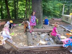 Making a natural playground for children outside the center. This allows children to explore nature in a safe environment.