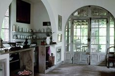 Daily Dream Decor: French doors in a dreamy house Rustic French, French Country House, French Cottage, French Grey, Rustic White, French Farmhouse, Rustic Feel, French Kitchen, Rustic Kitchen