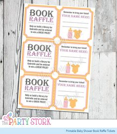 Baby Shower Book Raffle Tickets, Pink for Girl, PRINTABLE Baby Shower Games by The Party Stork YOU PRINT via Etsy  Instead of a diaper raffle?