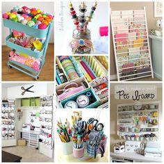 """Organizzare la craft room 10 idee fai da te. Vorreste creare un angolo creativo, la vostra craft room in casa? Volete creare un """"angolo del cucito creativo""""?Ho trovato 10 idee geniali e salvaspazio per tenere il nostro materiale creativo in ordine e creare il nostro angolo craft coloratissimo."""