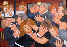 """Beryl Cook ~ """"The Wake"""", 2005 ~  On arriving in their local,The Dolphin, Beryl and her husband found a 'Wake' that had got rather out of hand."""