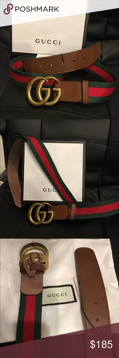 New Gucci Green/Red/Green Camel Web Signature Belt New Gucci Green/Red/Green Camel Web Signature Belt..   Once purchased plz provide me the size   GG Gold Buckle..   Comes with Box and Dust Bag  Ship 1-2 business days   Satisfaction Guaranteed or Full Refund   Fast shipping!!!!! Gucci Accessories Belts