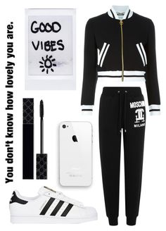 """""""⬛️&⬜️"""" by maddie-dancer ❤ liked on Polyvore featuring Moschino, adidas Originals and Gucci"""