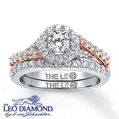 This romantic Leo Diamond bridal set features an engagement ring