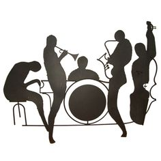 Jazz Musician Silhouettes | Silhouette Jazz Band Wall Sculpture Id image