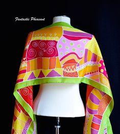 Silk scarf hand painted energetic design in di FantasticPheasant