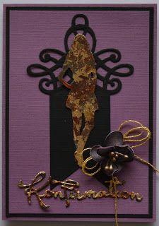 Troldinden: Konfirmationskort til en pige med foamiran blomst....