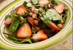 Strawberry Roasted Chickpea Salad with Cinnamon Dijon Vinaigrette