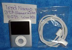 i POD Nano  3rd Generation 4 GB  Silver, cord   Works                       A1 #Apple
