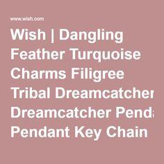 Wish | Dangling Feather Turquoise Charms Filigree Tribal Dreamcatcher Pendant Key Chain Ring (Kleur: Antiek zilver)