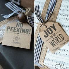 Pin for Later: Add Christmas Cheer With These 25 Free Holiday Gift Tags No Peeking and Joy to the World Gift Tags These cute gift tags will look amazing printed on kraft paper! Source: Shanty 2 Chic