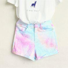 Dip Dye High Waist Shorts