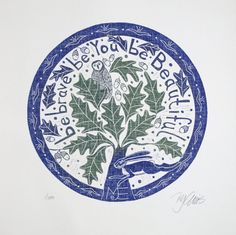 linocut/Be brave be You Be by linocutheaven on Etsy