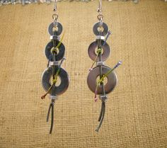 Handmade Industrial Hardware Earring with washers- hex nuts- cord- Stainless steel ear wire hooks.