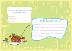 Eat n Share Restaurant Gift Certificate Template