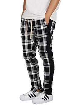 Men's Pants, Pajama Pants, Skinny Fit, Track, Sweatpants, Plaid, Ankle, Zip, Stylish