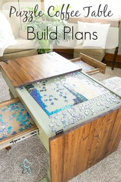 Purchase the Puzzle Table build plans or subs cribe to our email list if you are interested in a pre-built puzzle coffee table. by DeDeBailey Furniture Projects, Home Projects, Home Furniture, Business Furniture, Outdoor Furniture, Plywood Furniture, Bedroom Furniture, Furniture Design, Cool Wood Projects