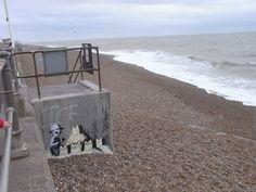 Banksy at Hastings Banksy Prints, Banksy Work, Hastings East Sussex, Urban Art, Old Houses, Brighton, Street Art, Beach Huts, History