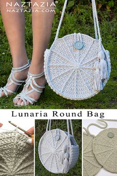The crochet Lunaria Round Bag a fun and unique looking hand bag! Front post double crochet stitches form the spokes that add the interesting design to this purse. Crochet Stitches, Knit Crochet, Crochet Patterns, Crochet Hats, Crochet Handbags, Crochet Purses, Crochet Shoulder Bags, Front Post Double Crochet, Bag Pattern Free