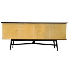 French 1950's Sycamore And Ebonized Wood Buffet / Bar   From a unique collection of antique and modern buffets at http://www.1stdibs.com/furniture/storage-case-pieces/buffets/
