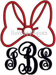 Cute Minnie Mouse High Bow Great For Monograms by iloveappliques, $2.99