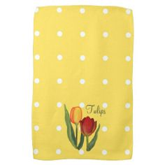 Tulips Kitchen Towel by Mousefxart.com (Mouse Cottage) #mothersday #yellowkitchen #mom #tulips #polkadots