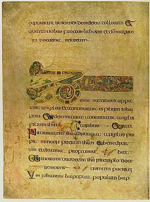 The Book of Kells is an illuminated manuscript Gospel book in Latin, containing the four Gospels of the New Testament together with various prefatory texts and tables. It was created by Celtic monks ca. 800 or slightly earlier.