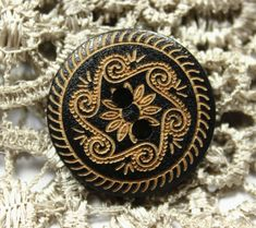 Black Wood Buttons  Vintage Scrollwork Pattern Wooden by Lyanwood, $5.50