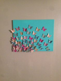 #diy #butterfly #canvas #scrapbookpaper #paint Christmas present I made for my stepsister!