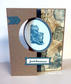 Traveler, Circle Card Thinlits, (colors are Crumb Cake, Lost Lagoon and Vanilla), And Many More (sentiment) Slider Cards, Flip Cards, Fancy Fold Cards, Folded Cards, Swing Card, Circle Labels, Travel Cards, Stampin Up Catalog, Masculine Cards