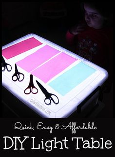 Quick, easy and affordable DIY Light Table for kids sensory play that you can make at home. ~ Danya Banya