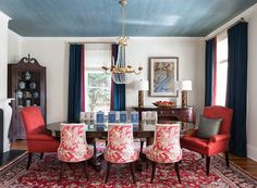 The fifth wall, check it out. Cleveland Park Historic | bossy color Annie Elliott Interior Design