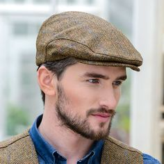 Green Herringbone Irish Tweed Flat Cap Trinity Mucros.Hand Made in Ireland 163