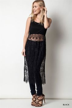 Sleeveless Tank With Sheer Lace Skirt
